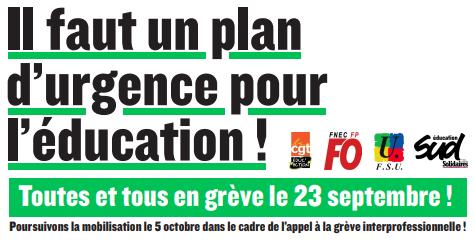 Dévalorisation du service public d'éducation : il est urgent de nous mobiliser ! Grève le 23 septembre et le 5 octobre !