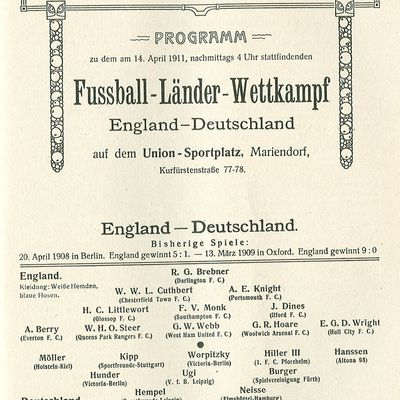 BERLIN 14. April 1911 - DEUTSCHLAND : ENGLAND 2 : 2 ( 0 : 1 )