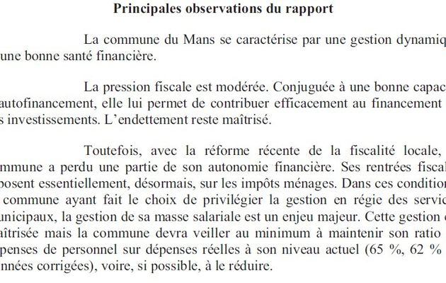 La Ville du Mans : Une bonne santé financière.