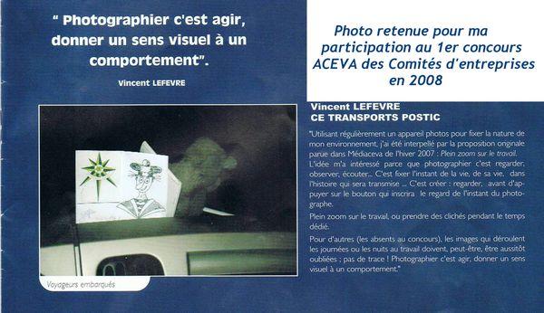 Aceva, un concours photos et ma citation retenue et publiée...