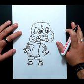 Como dibujar a Gumball poseido paso a paso - El asombroso mundo de Gumball | How to draw Gumball