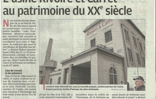 Rivoire & Carret: Article de la Provence du 18 janvier 2013