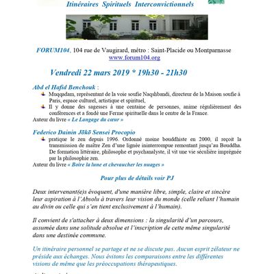 SERIC 2020, 6 novembre, 75005, Paris : Itinéraires spirituels interconvictionnels
