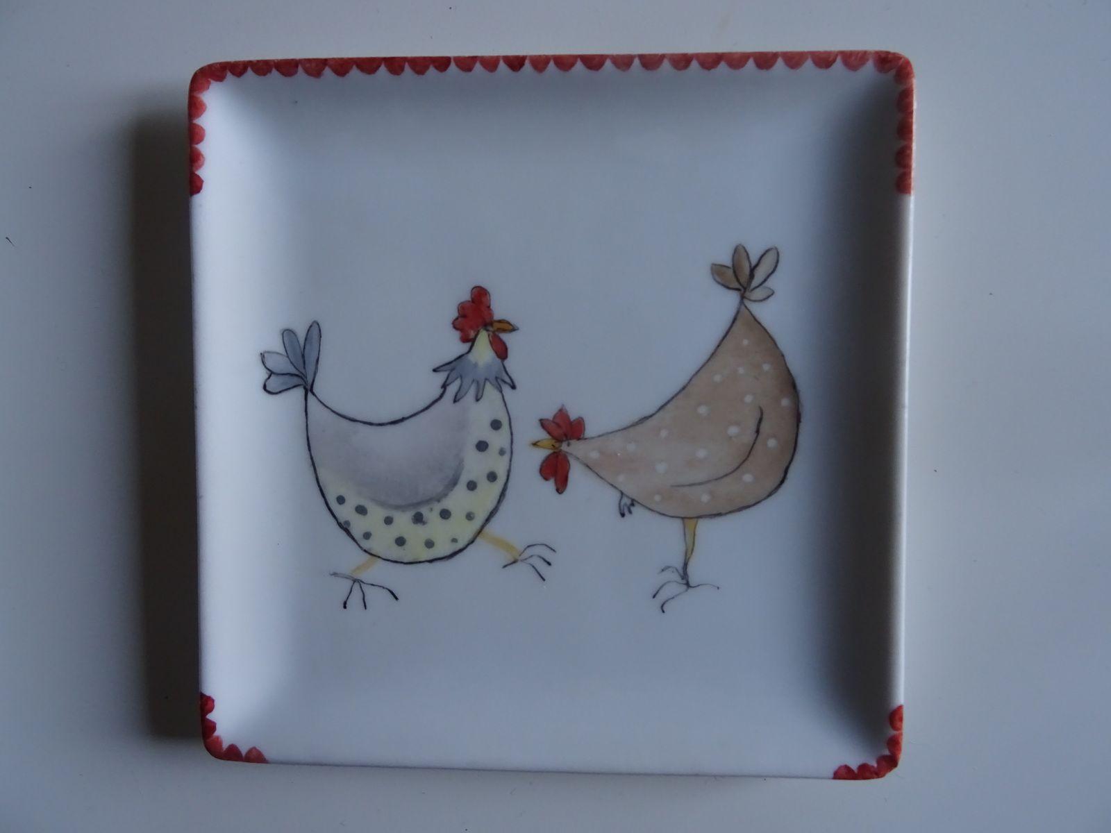 mes petites poulettes sur porcelaine