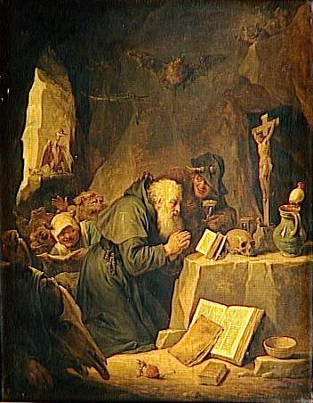 La tentation de Saint Antoine, Teniers David II, TENIERS Le Jeune (dit), Anvers, 1610 - Bruxelles, 1690, Flandres, peinture à l'huile sur bois, 63 H x 50 L