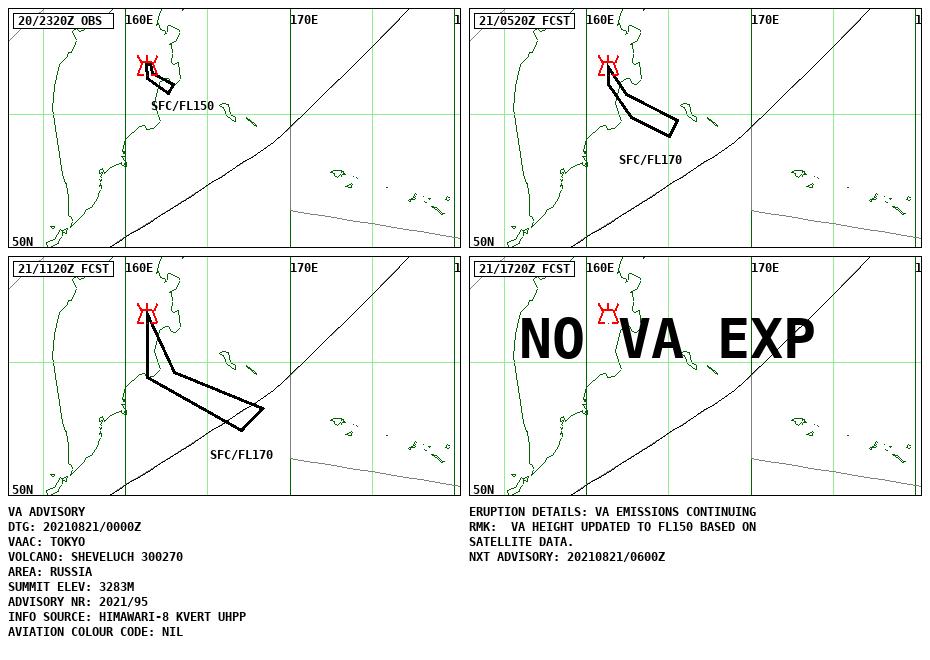 Sheveluch - Volcanic ash advisory du 21.08.2021 / 0000A - Doc.VAAC Tokyo