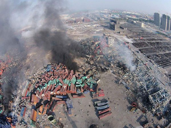 An aerial view of the explosion site. Photo: Yue Yuewei/Xinhua