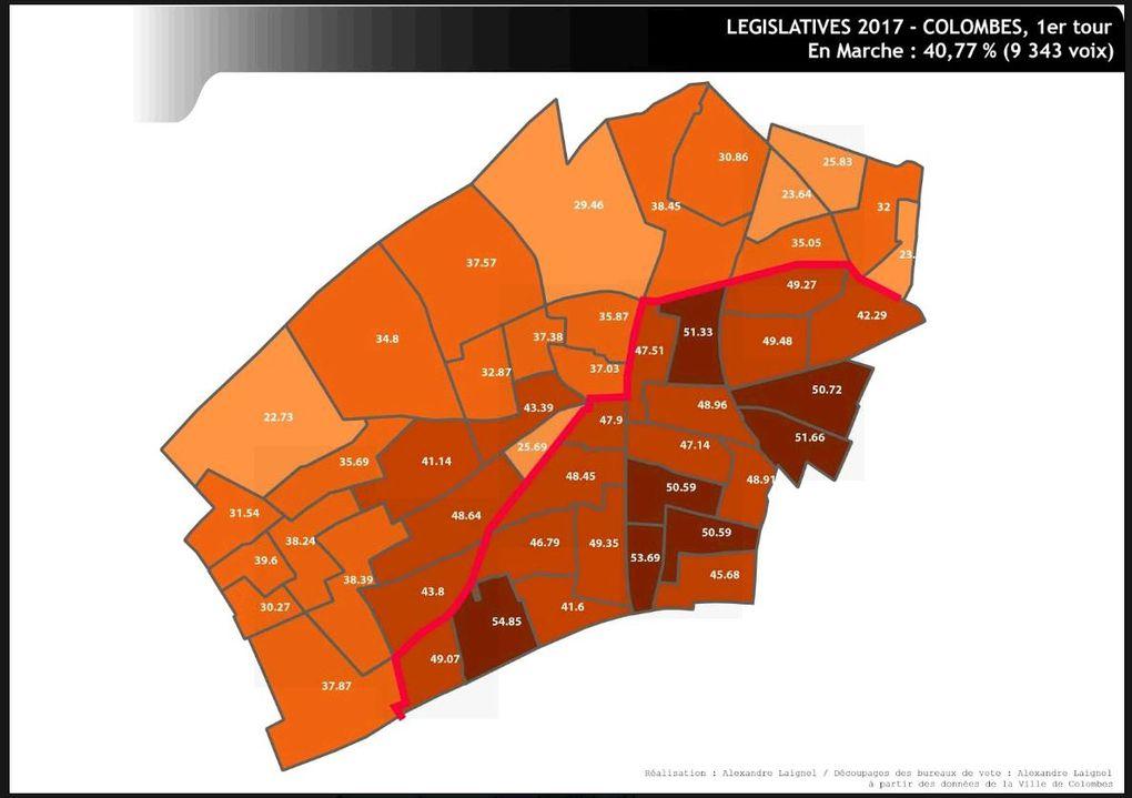 Colombes : résultats par bureau des législatives selon la réalisation d' Alexandre Laignel