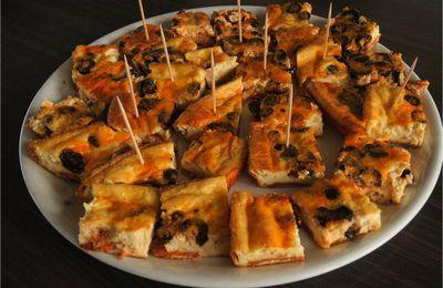 Pour l'apéro, clafoutis olives et chorizo