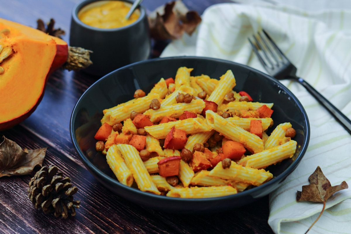 pâtes sauce houmous