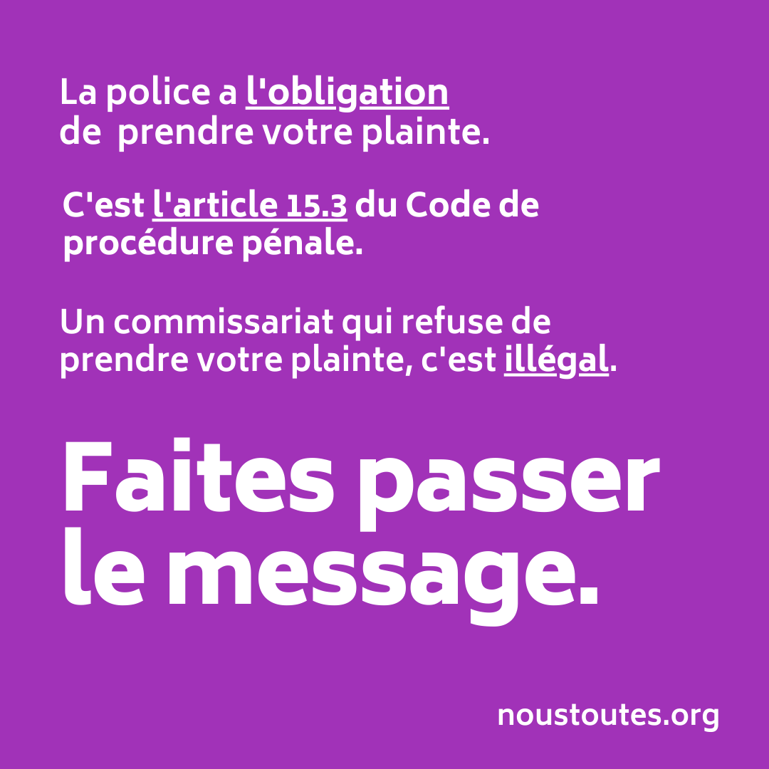 Un des messages importants transmis par l'association #NousToutes