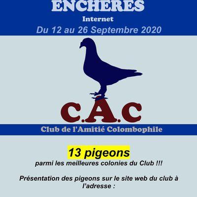 VENTE AUX ENCHERES CLUB DE L'AMITIE COLOMBOPHILE