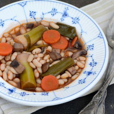 Ragoût de haricots blancs et poireaux