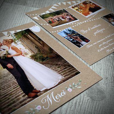La carte de remerciements thème romantique guinguette de Jennifer & Nicolas ...