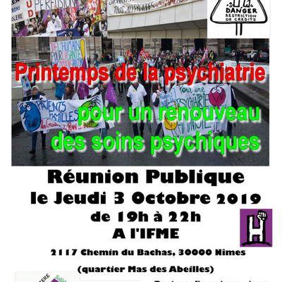 Nîmes 3 OCTOBRE 2019 - POUR UN PRINTEMPS DE LA PSYCHIATRIE