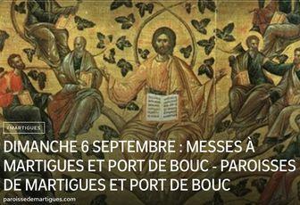 DIMANCHE 6 SEPTEMBRE : MESSES À MARTIGUES ET PORT DE BOUC