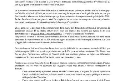 Censure de la tribune de l'opposition dans le magazine municipal : la Cour d'Appel de Douai déboute le directeur de la communication de la mairie RN