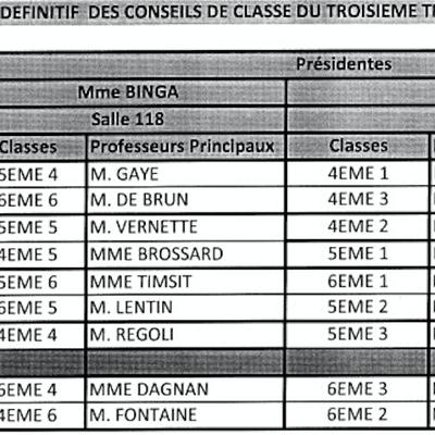 Conseils de classe du 3ème trimreste (2017-2018)