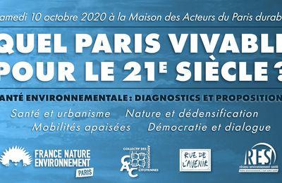 """""""Quel Paris vivable pour le 21e siècle ?"""", en débat le 10 octobre"""