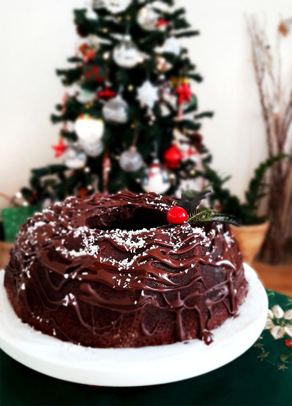 Christmas bundt cake au chocolat-coco & ganache au chocolat