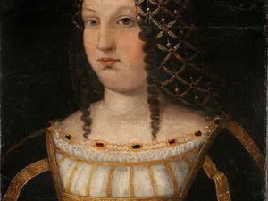 d'après Bartolomeo Veneto - portrait présumé de Lucrèce Borgia, 1510 - huile sur bois 58x42cm - Nimes musée des Beaux-Arts ;  Altobello Melone - Portrait de gentilhomme (César Borgia ?) vers 1510 - huile sur bois - 58x48cm - Bergame Accademia Carrara