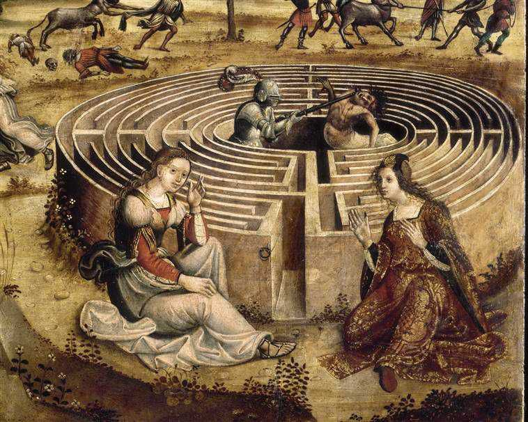 Détail: Thésée tue le Minotaure dans le labyrinthe construit par Dédale pour le roi Minos et ressort grâce au fil donné par Ariane.