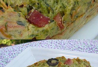 Cake aux deux fanes, aux olives noires & au jambon