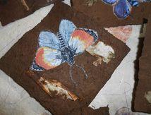 papillons et oiseaux sur papier d'amadouvier