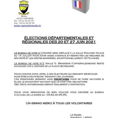 Recherche scrutateurs volontaires pour les élections du 20 et 27 juin 2021