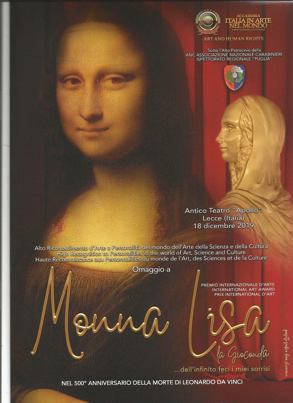 Prix International d'Art 2019 Hommage à Monna Lisa 500° Anniversaire de la mort de Léonard Da Vinci
