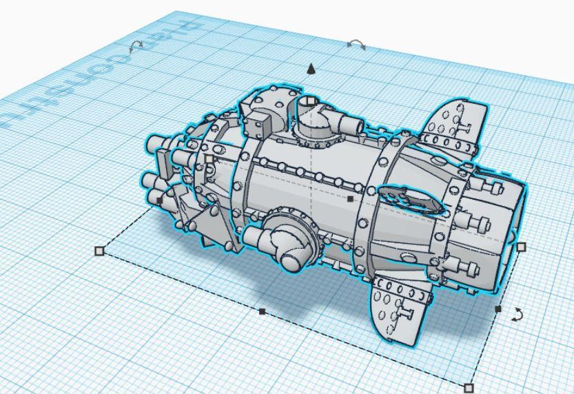 Modélisation 3D d'une cannonière Massakreur ork pour Battle fleet Gothic
