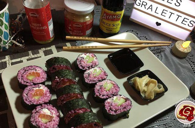 Recette : maki rose au saumon