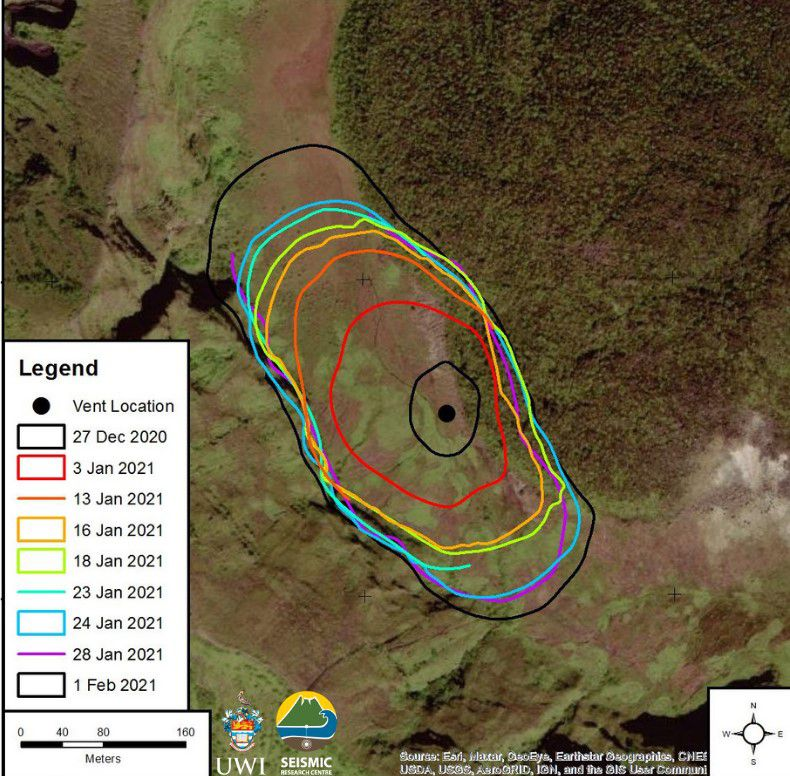 Soufrière of St. Vincent - footprint of the new dome between 27.12.2020 and 01.02.2021 - Doc. UWI-RSC