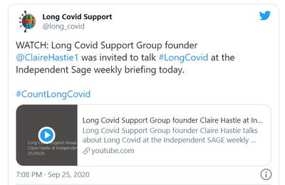 Emission 25 septembre 2020 - Twitter - Long Covid Support Group founder  @ClaireHastie1  was invited to talk #LongCovid at the Independent Sage weekly briefing today.