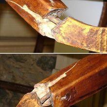Deuxième réparation d'un pied de divan cassé