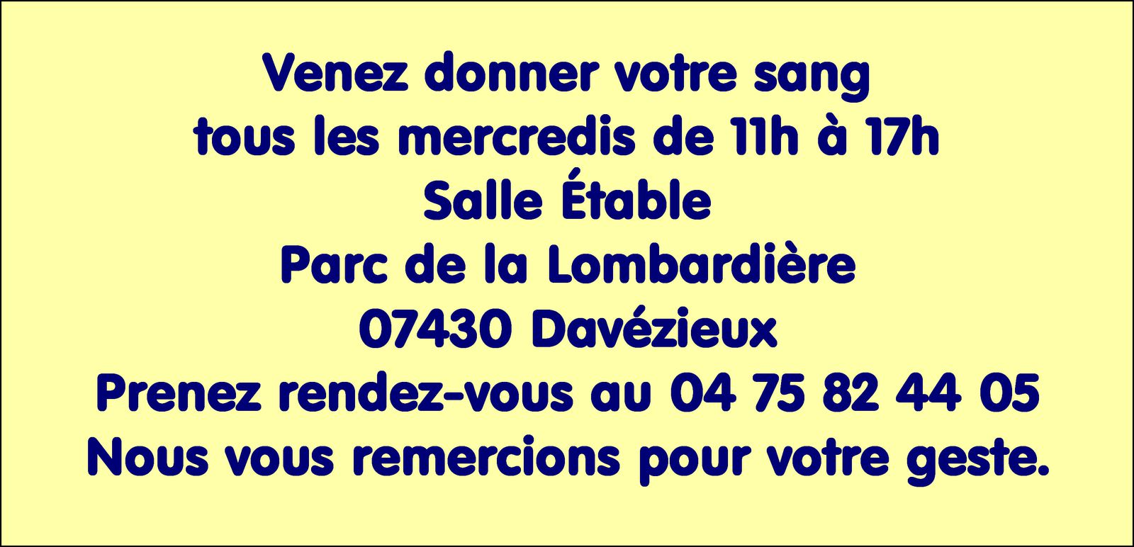 Communiqué de l'Amicale des donneurs de sang d'Annonay