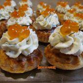 Canapés feuilletés mousse de chèvre frais à l'aneth et oeufs de saumon - sucreetepices.over-blog.com