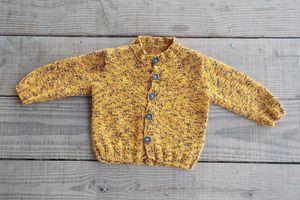 tricot :gilet couleur girafe