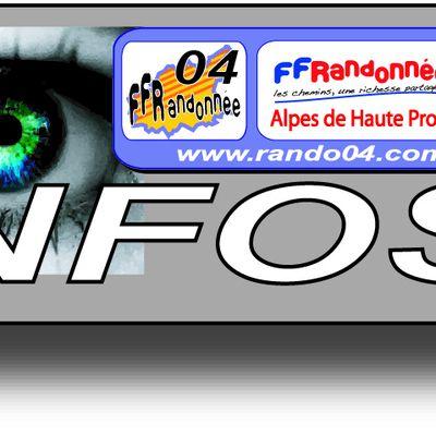 CALENDRIER DES PROCHAINES FORMATIONS proposées par la FFRandonnée 04 - millésime 2019