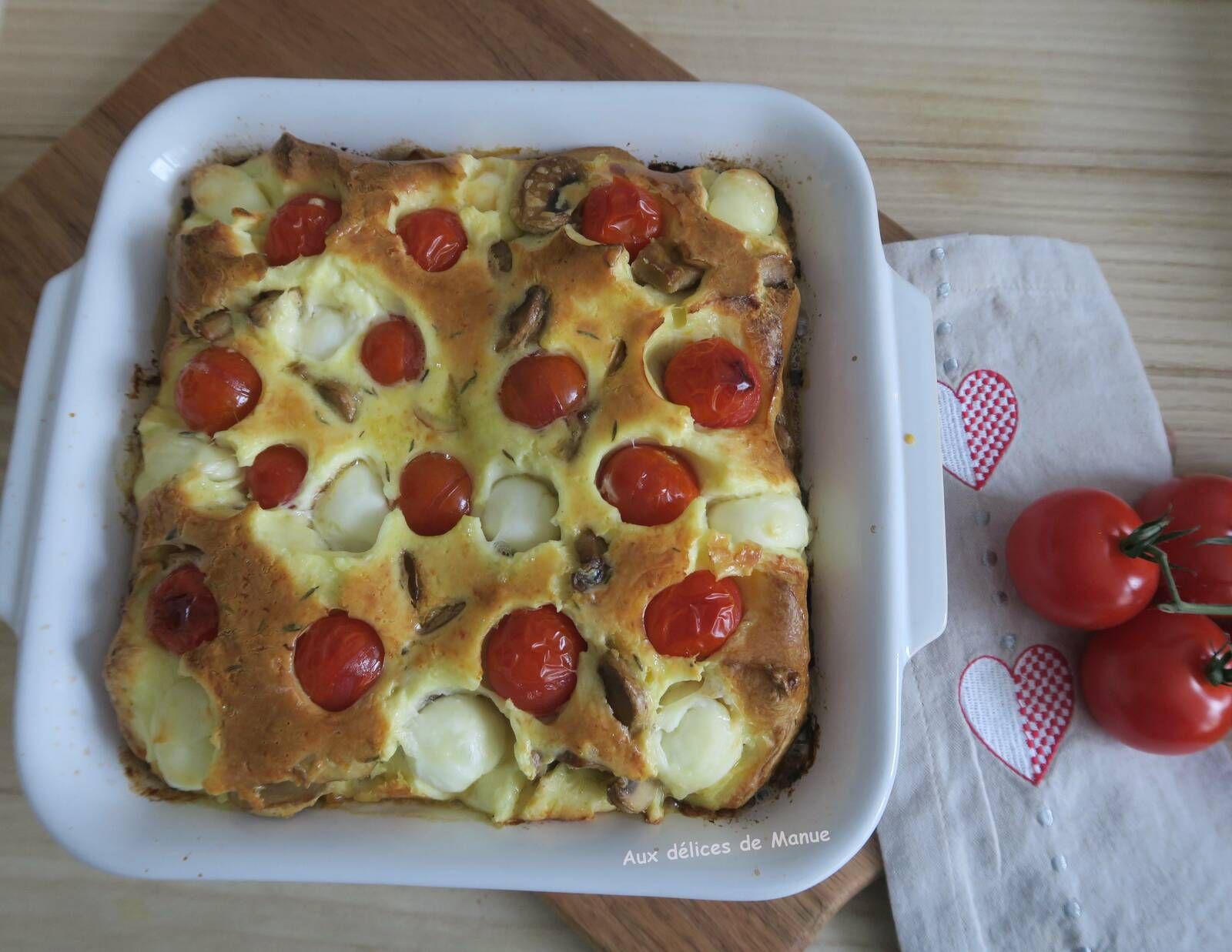 flan,flan salé,quiche,quiche sans pâte,mozzarella,tomates cerises,champignons