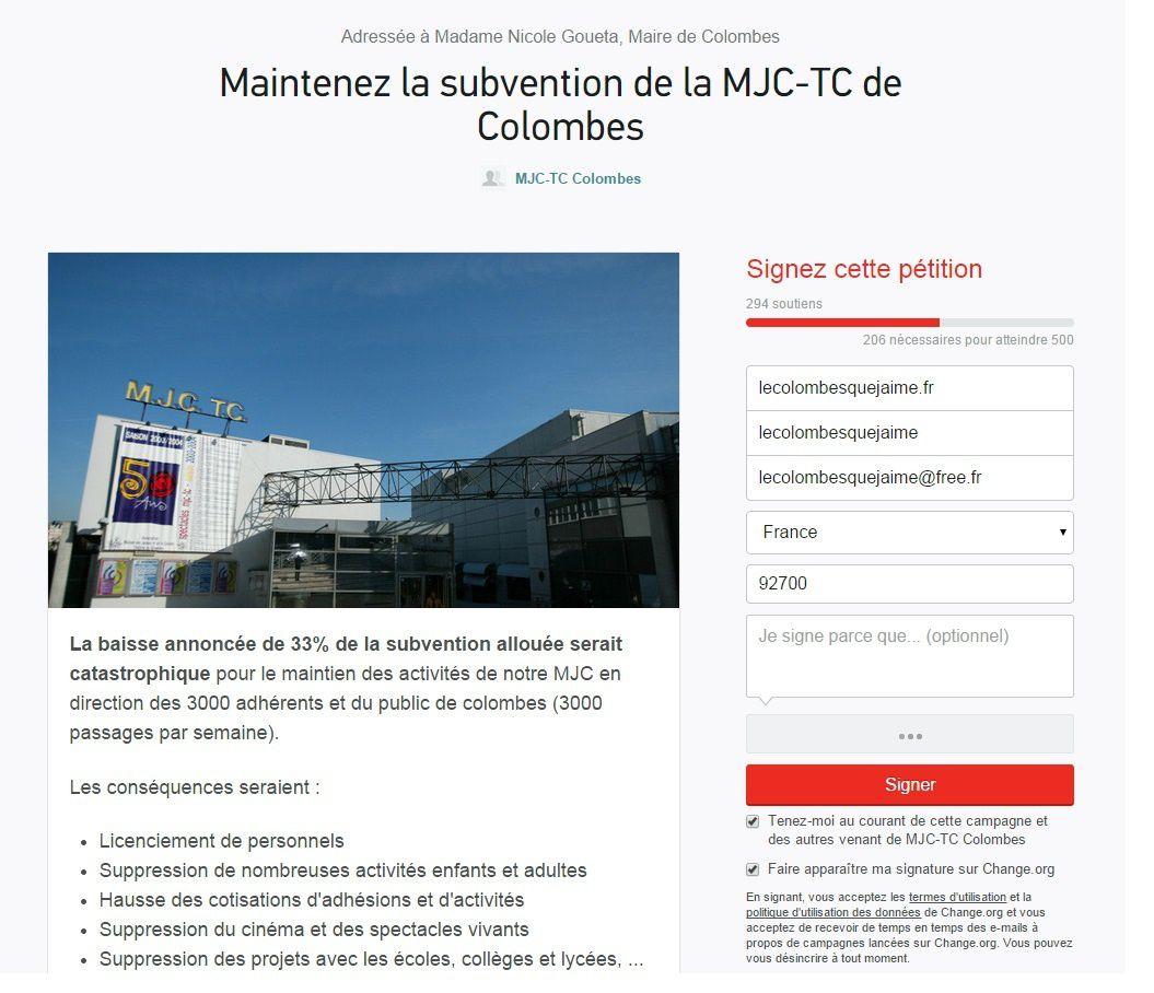 LA MUNICIPALITÉ VEUT DIMINUER LA SUBVENTION DE LA MJC-TC DE COLOMBES DE 33 % : UNE PÉTITION EST EN LIGNE