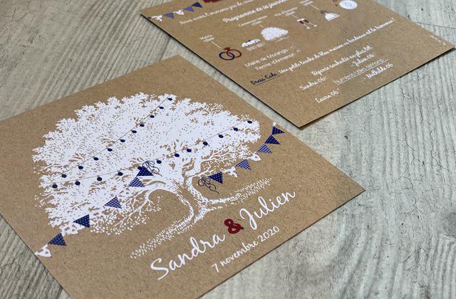Le faire part de mariage de Sandra & Julien ... thème guinguette champêtre