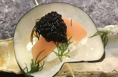 Bouchées de radis noir au saumon