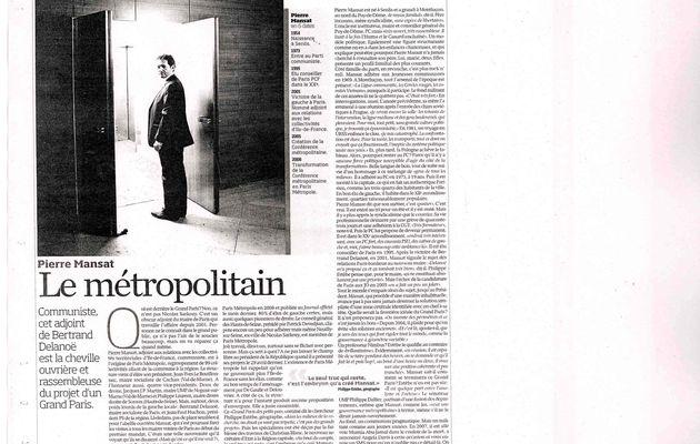 > Dans Libération mon portrait signé Sibylle Vincendon: Pierre Mansat, le métropolitain
