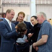Princes William and Harry arrive on the set of Star Wars