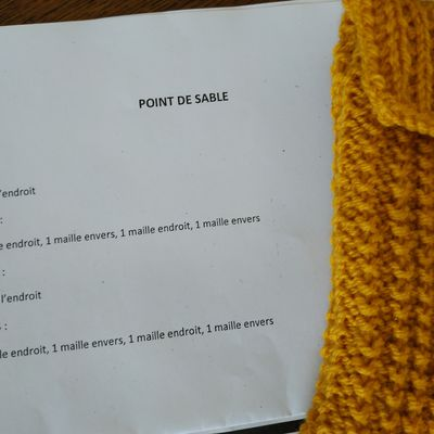 Pochette au tricot: point de sable