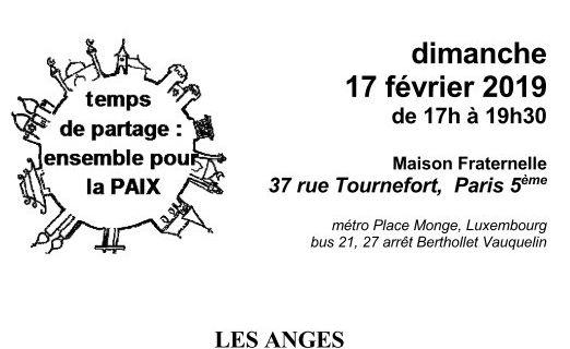 """PARIS : """"Les anges dans nos traditions religieuses"""". Le 17 février 2019 de 17h à 19h30 à la Maison fraternelle au 37 rue Tournefort,  75005 PARIS"""