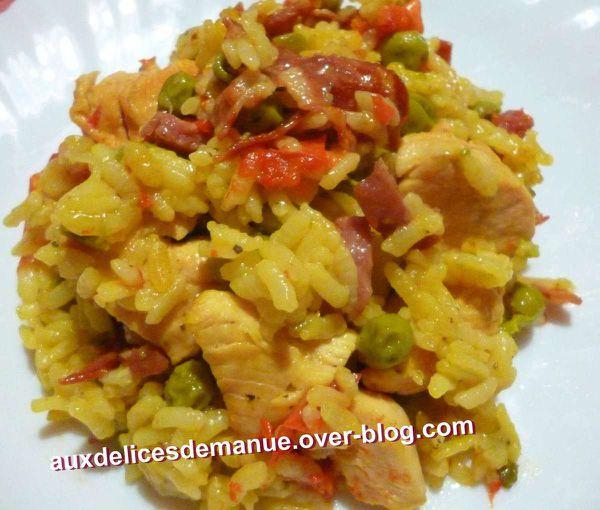 marmite de riz au poulet, légumes safran et épices italiennes