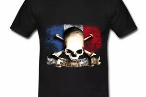 T shirt bleu blanc rouge Drapeau Français Rock HNR