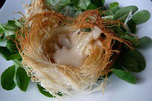 Petits nids de cheveux d'ange (kadaif) camembert et cidre pour Pâques, sauce au cidre